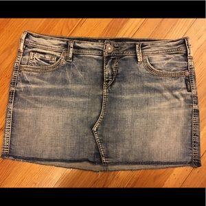 Silver Francy mid mini jean skirt
